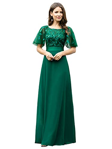 Ever-Pretty Vestiti da Cerimonia Maniche Corte Chiffon Lungo Stile Impero Linea ad A Rotondo Donna Verde Scuro 40