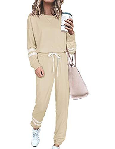BUOYDM Conjunto Deporte Mujer Chándal Deportivo Dos Piezas Sweatshirt + Pantalones Ropa de Casa Casual Pijama Yoga Sportswear Caqui M