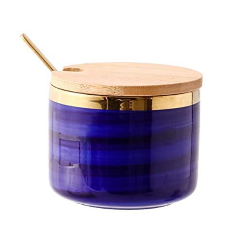 RMI Contenitore per spezie Vasetto per spezie Blu Dipinto a Mano Scatola per Zucchero Ciotola per Sale in Ceramica, A