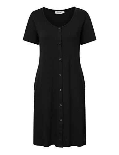 KOJOOIN Damen Geburt Stillnachthemd Schlafanzug Schwangerschaft Pyjama Nachtwäsche mit Durchgehender Knopfleiste Schwarz S