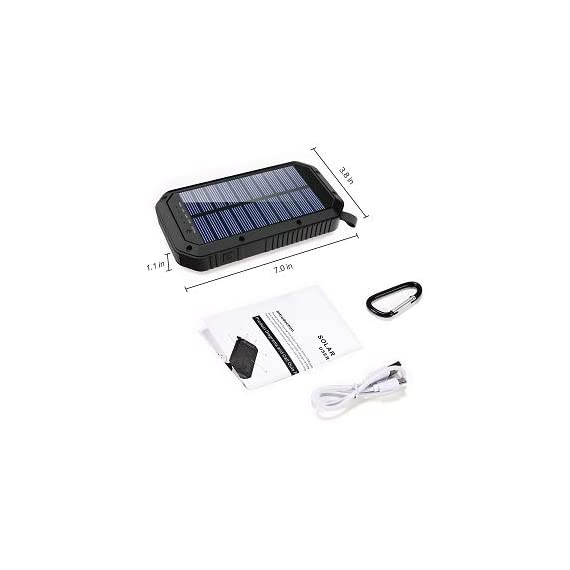 Solar Charger, 25000mAh Battery Solar Power Bank Portable Panel Charger with 36 LEDs and 3 USB Output Ports External Backup Battery for Camping Outdoor for iOS Android (Black) 9 【25000mAh Ultra High Capacity Solar Charger】The solar panel charger built-in 25000mAh Li-polymer battery, it's enough to charge an iPhone XS for 7.4 times, a Galaxy S9 Plus for 5.7 times, an iPad Pro for 1.6 times! 【Two Charging Methods】The Solar charger powerd by 5V/2A adapter(Not included) or solar. The blue indicator light is on when charging with the adapter, and the green indicator light is on when charging with solar panel. 【3-USB Ports for Charger】The solar charging powerbank has three USB ports that can charge three devices at the same time, which is convenient for yourself and your friends.