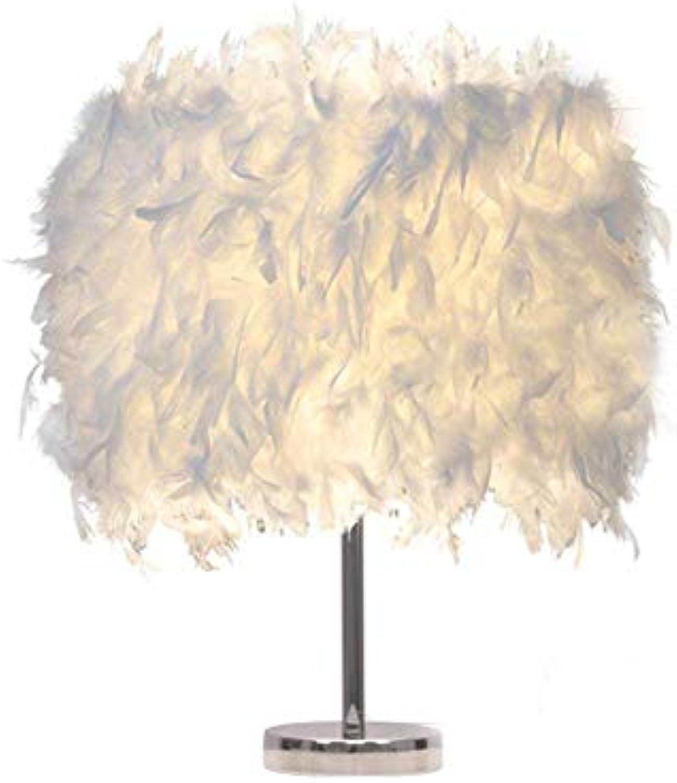 MRXUE Fedetisch Lampe, verschlüsselte weie Feather Schreibtisch Lampe, Kinder neben Bett Lampe, Schlafzimmer Wohnzimmer Esszimmer Esszimmer Schreibtisch Nacht Licht Licht,35cm45cm