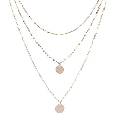 Star Jewelry - Gargantilla con forma de corazón con forma de corazón y simple de múltiples capas