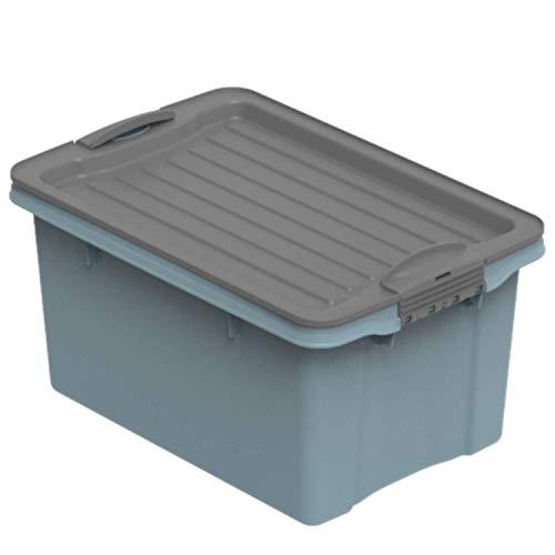 Rotho Eco Compact Aufbewahrungsbox 13l - 27 x 18,5 x 15 cm - blau/anthrazit