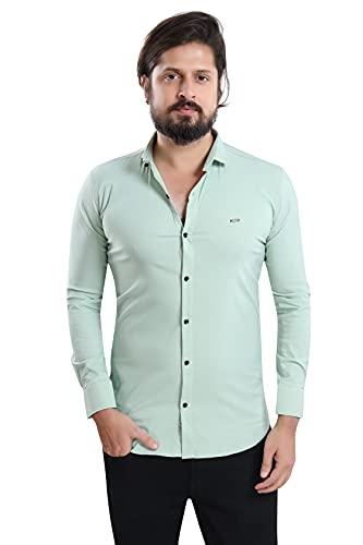 US BOND Slim Fit Cotton Lycra Regular Collar Stretchable Plain Shirt for Men- Light Green, Size :-M (Brand Outlet)