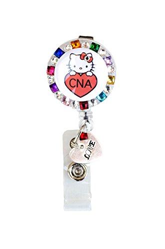 New Custom Bling Rhinestone Medical Field ID Badge Pull Reels Retractable ID Badge Holders (Rainbow CNA Hello Kitty Heart Charm)