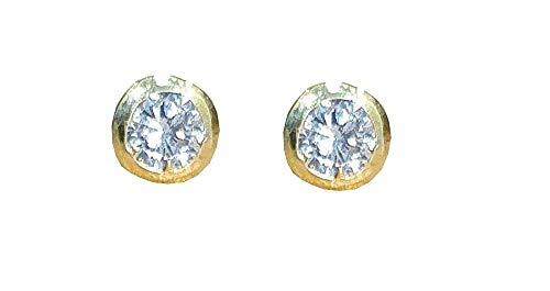 Satfale Jewellers Zirconia cúbica CZ Sólido 9 quilates de oro fino amarillo Pendientes de botón 4,9 mm de diámetro
