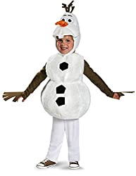 A child dressed in a snowman costume.