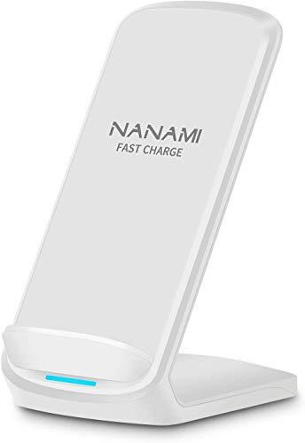 NANAMI Cargador Inalámbrico Rápido,Qi Wireless Charger, 7.5W Carga Inductiva para iPhone 12/11/11 Pro/11 Pro MAX/XS MAX/XR/XS/X/8/8 Plus,10W Carga Rápida para Samsung S21/S20/S10/S9/S8/S7/Note 20/10/9