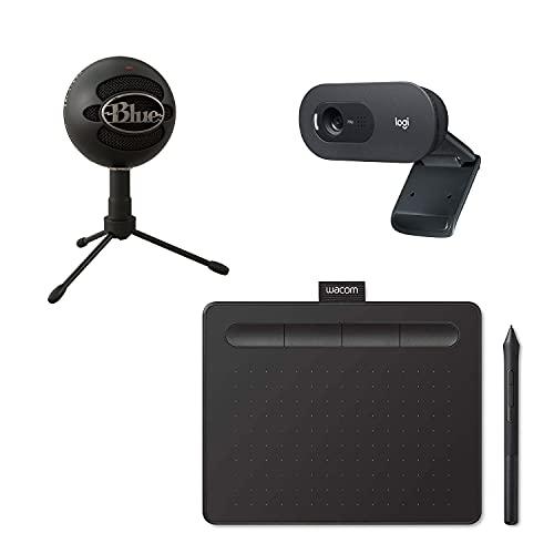 Blue Microphones Snowball Ice Micrófono para grabación y transmisión, Logitech C505 HD Webcam Cámara USB Externa 720p, Wacom Intuos S Tableta Gráfica Portátil para Pintar, Dibujar y editar Fotos