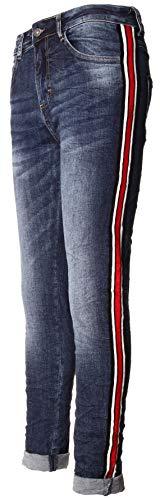 Basic.de Damen-Jeans mit breitem seitlichem Kontraststreifen Rot Melly CO 7090 XS