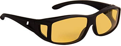 NuVew Night Vision/Driving Unisex Sunglasses - (Yellow Lens | Black Frame | Large)