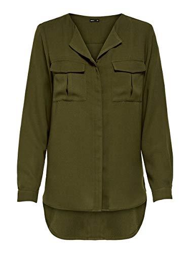 ONLY Damen Onlkaty L/S Shirt WVN Bluse, Grün (Beech Beech), (Herstellergröße: 38)