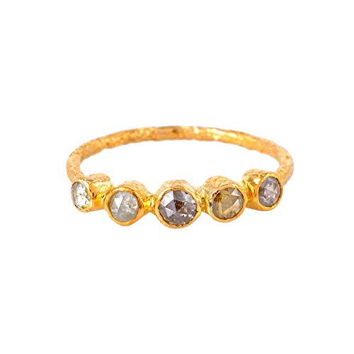 Anillo de oro amarillo de 18 quilates certificado, anillo texturizado con diamante natural cortado de 0,70 quilates (color H I, claridad Vs2 Si1) anillo de diseñador para regalos de mujer