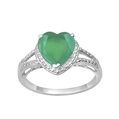 Shine Jewel Multi Elija su Piedra Preciosa Solitaire 2.0 Ctw Anillo en Forma de corazón con vástago Dividido de Plata esterlina 925 (9, Ónix Verde)