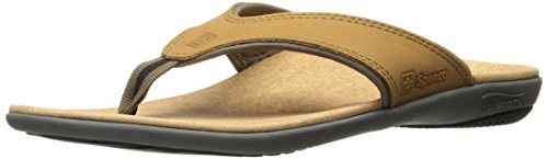Spenco Men's Yumi Leather Sandal, Medium Brown, 13M Medium US