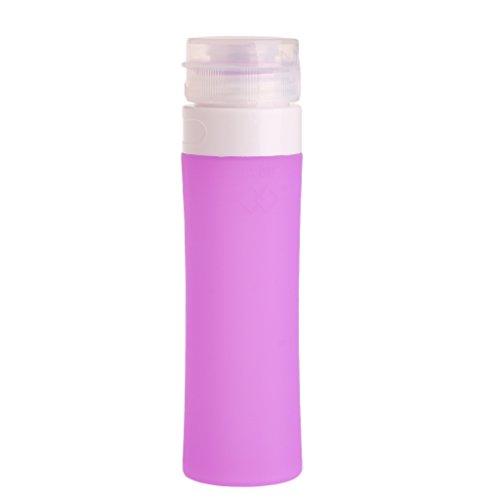 Lunji Flacon Vide Silicone - Flacons de Voyage 40ml pour Shampooing Gel Douche Huile Solaire Lotion (Violet)