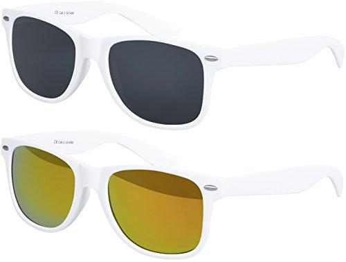 Balinco Original UV400 CAT 3 CE Vintage Unisex Retro Sonnenbrille - (Doppelpack - Rahmen: Weiß matt, Gläser: 1 x Schwarz, 1 x Rot verspiegelt)