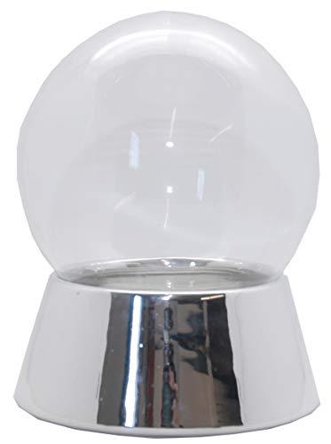 Snowglobe for you 40038-150mm-Do-it-Yourself Schneekugel mit Glaskugel und Porzellansockel Silber galvanisiert für Einbau Spieluhr