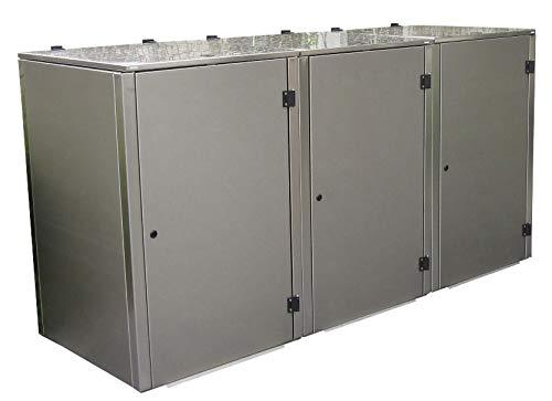 Gero metall Müllbehälterbox für DREI 120 Liter Tonnen, Modell Eleganza G