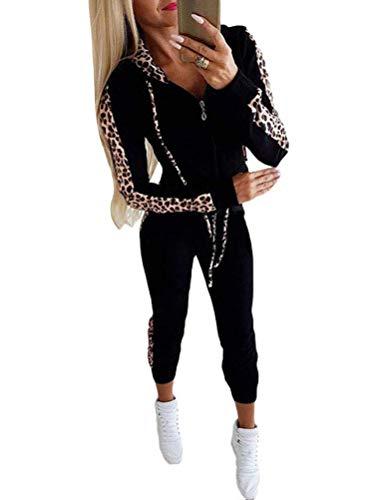ORANDESIGNE Damen Mode Streifen Trainingsanzug Frauen Lange Ärmel Zipper Top + Lange Hose Sportswear 2 Stück Set Sport Yoga Outfit C Schwarz 38