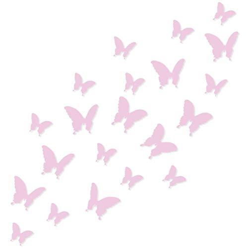 Wandkings Schmetterlinge im 3D-Style in ROSA, 12 Stück, Wanddekoration mit Klebepunkten zur...