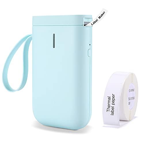 D11 Bluetooth Etikettendrucker Mini Tragbares Thermo Beschriftungsgerät Einfache Verwendung für Büro Oder Zu Hause Organisation Ettiketiergerät mit Klebeband, Kompatibel für Android&iOS (Grün)