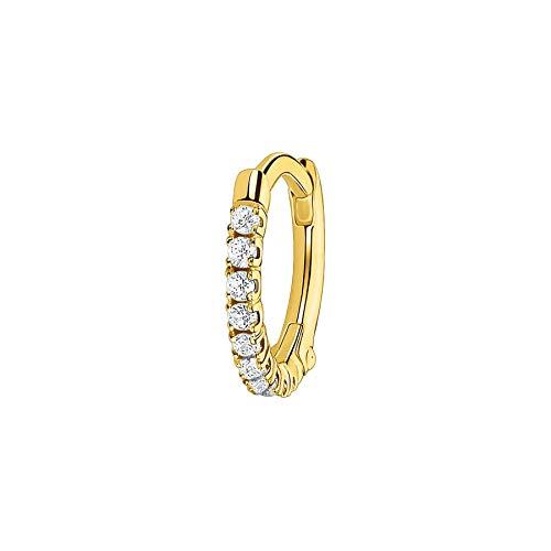 Thomas Sabo Damen Einzel Creole weiße Steine gold, 925 Sterlingsilber, Clipverschluss