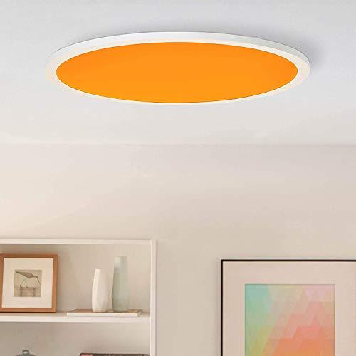 LED Panel Deckenleuchte, Ø60cm, 40 Watt, RGB Farbwechsel per Fernbedienung steuerbar, 2700-6200 Kelvin, Metall/Kunststoff, Weiß
