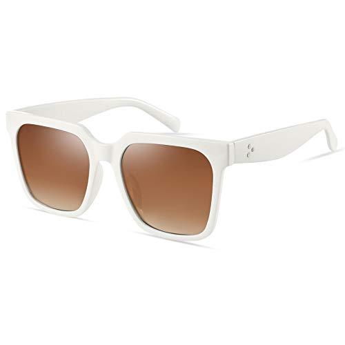 Mosanana Gafas de sol cuadradas de gran tamaño retro polarizadas para mujer Vintage MS51917