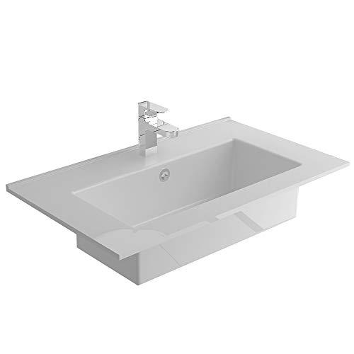 Alpenberger Nano-Besichtung Einbauwaschbecken 61 x36,5 cm aus robuster Keramik | Waschbecken fürs Badezimmer & Gäste-WC | Handwschbecken mit Nano Versiegelung