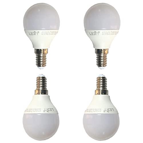 4 x Lampadina Led E14 5W Luce Calda Durata 25000 ore 500 Lumen, Basso Consumo per Risparmio Energetico, Attacco Piccolo Forma Piccola Rotonda A45 per lampadari, plafoniere, comodini, lampade