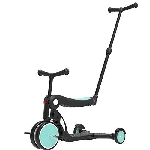 ZLASS Scooter para niños, Asiento Plegable Multifuncional 5 en 1, Bicicleta de Equilibrio de Tres Ruedas con Varilla de Empuje, Adecuado para niñas y niños de 1 a 6 años