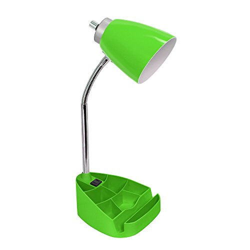 Limelights LD1057-GRN Gooseneck Organizer Desk Lamp with Ipad Tablet Stand Book Holder and Charging Outlet, Green