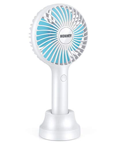 HonHey Handheld Fan Mini Fan,Small Personal Portable Fan,3 Speed Adjustable USB Desk Fan,Rechargeable Eyelash Fan for Makeup,Electric Fan for Travel