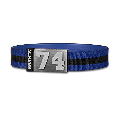BRAYCE® Trikot am Handgelenk® mit Deiner Trikot Nummer 00-99 I Armband schwarz & blau I Sportarmband/Teamarmband personalisierbar & handgemacht