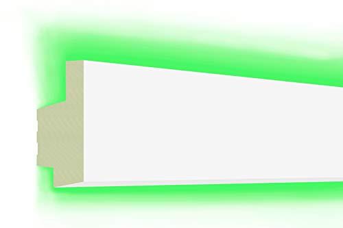 HEXIM LED Stuckleisten aus PU - Indirekte Beleuchtung mit modernen Deckenleisten, lichtundurchlässig, leicht und schlagzäh - (20 Meter Sparpaket LED-18 65x34mm) Zierprofil, Stuck, Deckenbeleuchtung