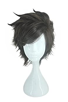 Cosplay Costume Wig for Ow Overwatch Tracer Characters Short Layered Brown Hair