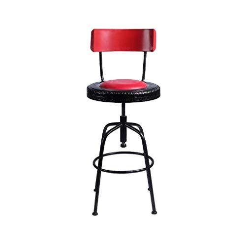 JPL Bar, cafetería, silla de restaurante, taburete alto giratorio, taburete de bar ajustable, respaldos altos, pub de metal de estilo vintage industrial, sillas altas