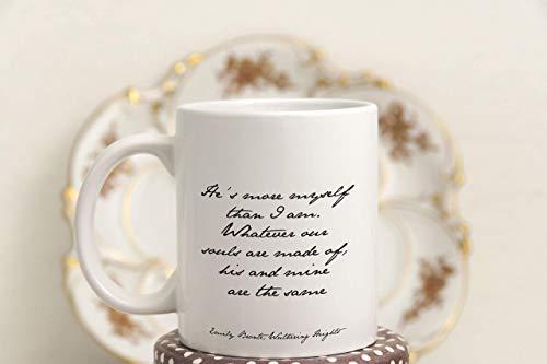 Taza de café de Cumbres Borrascosas Regalo para los amantes de los libros Taza de té con cita romántica con cita de Bronte Taza grande para amantes de los libros Es más yo que yo