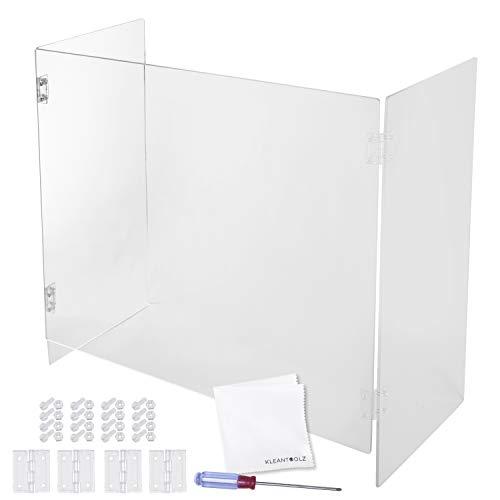Kleantoolz Trifold Plexiglass Sheet Sneeze Guard - School Office Freestanding Acrylic Panel Divider - Durable Plexiglass Barrier For Counter Desk And Tables