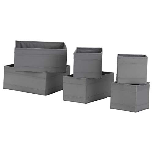 IKEA SKUBB - Juego de 6 cajones organizadores de tela para armario, 2 colores (gris)