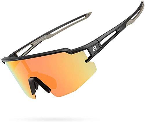 ROCKBROS Occhiali da Sole Sportivi da Ciclismo Multifunzionali Lenti Polarizzate con Rivestimento Colorato UV400 Ultra-Leggero Unisex Grigio