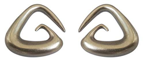 "Pesos de oreja de pareja plateados plata para lóbulos estirados. Dos pendientes dilataciones orejas. Earrings Plugs ""AFRICA"". Modelo original único hecho a mano por artesano italiano. Cm 3 x 3"