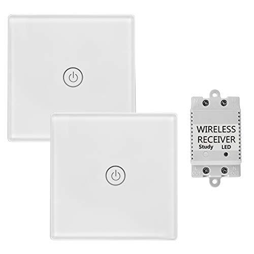 town sister huis kantoor wit touch radiografische schakelaar met ontvanger met LED-indicator licht - afstandsbediening multi-eenheid lampen touch lichtschakelaar - belastbaarheid max. 2000W (dubbele radiografische schakelaar)
