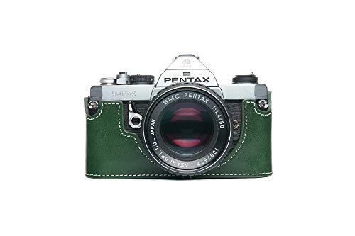 Zakao - Custodia per Pentax MX/ME, fatta a mano, in vera pelle, per fotocamera Pentax MX/ME con cinturino da polso, colore: Verde