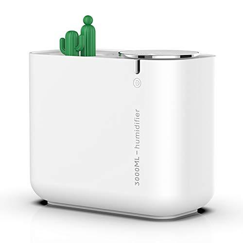 LIXUE Humidificador Ultrasónico con Ozonizador y Aromaterapia, más de 16 Horas de Autonomía, Capacidad 3L,Cactus White
