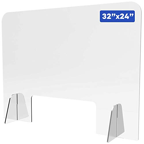 Shield Geek Premium Sneeze Guard for Counter - Freestanding Plexiglass Shield with Larger Opening at the Bottom - Crystal Clear Acrylic - for Business, Cashier Counters, and Restaurants 32' x 24'