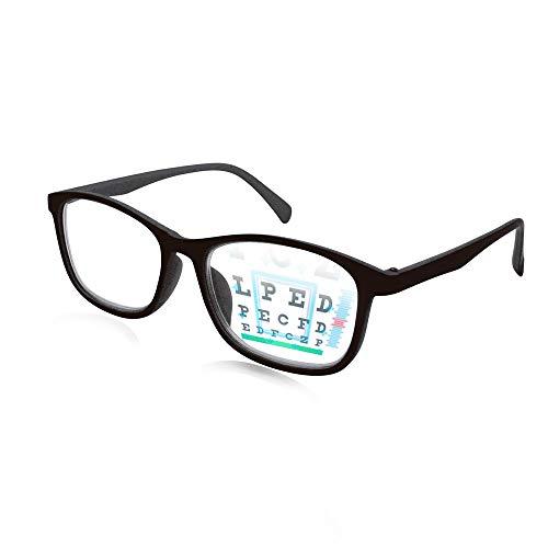 イーチャンス ビスマックス オートフォーカス グラス 老眼鏡 遠近両用 めがね 多焦点レンズ 眼鏡 遠視 近視 度数調節 メガネ リーディンググラス シニアグラス メガネケース 兼 メガネ拭き(ブラック)