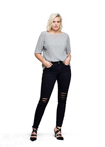 VIOLETA (Plus Size - T-Shirt mit T-Shirts Kurzarm metallic-garn - Size:XL - Color:Grau